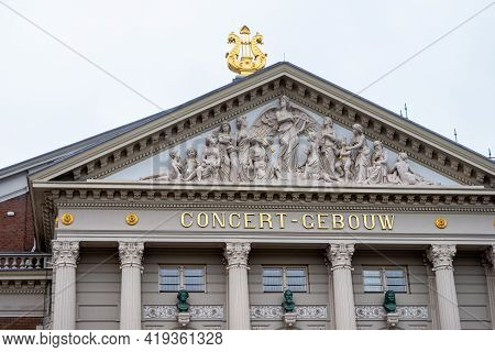 April 28, 2021, Amsterdam, Netherlands, Facade With Religious Reliefs Of The Concertgebouw (concert