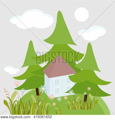House In Fir Tree Forest Flower Hill Art Design Stock Vector Illustration For Web, For Print, For Fa