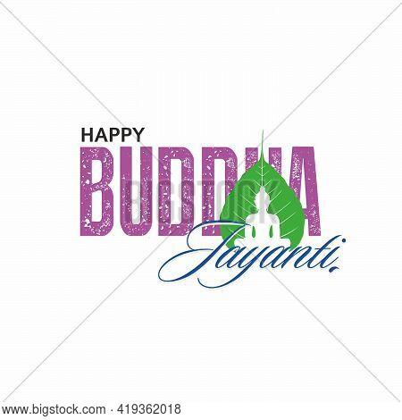 Happy Buddha Jayanti Banner - Buddha On Leaf - Typography
