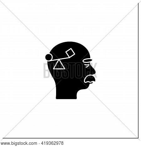 Spatial Awareness Problems Glyph Icon. Problem With Balance.coordination.alzheimer Disease. Neurolog
