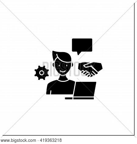 Open Collaboration Glyph Icon. Open Minded Person. Interaction Participants, Create Products. Busine