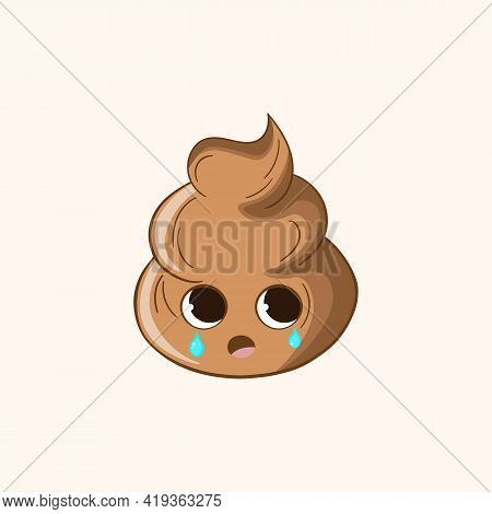 Cartoon Poo, Template Feces Icon. Kawaii Poop Isolated On White Background. Shit Pattern, Evil Turd.