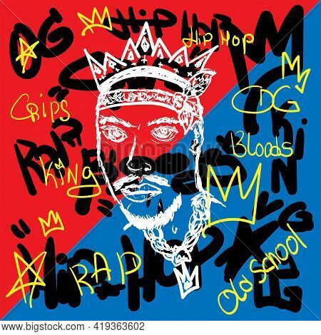 Sketch Of Bearded Man With Crown On Abstract Background With Handwritten Text. Hip-hop Poster, Rap P