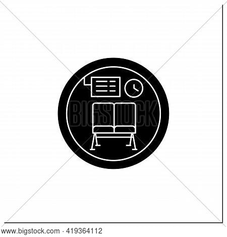 Waiting Room Symbol Glyph Icon.waiting Chairs, Lounge Zone.travel Service Sign.public Place Navigati