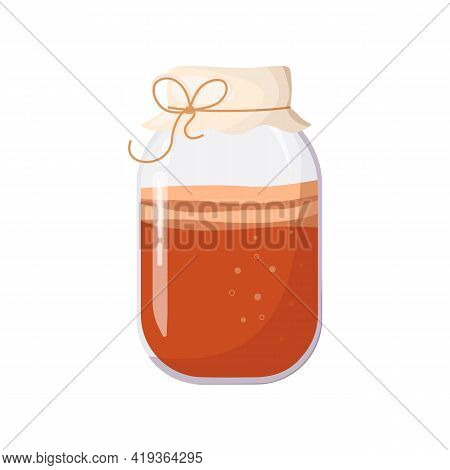 Kombucha In Glass Jar, Covered With Cloth, Tied With Rope. Fermented Probiotic Homemade Tea. Refresh