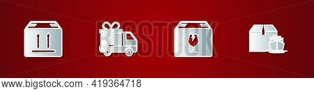 Set Cardboard Box With Traffic, Delivery Truck Gift, Fragile Content And Cargo Ship Boxes Icon. Vect