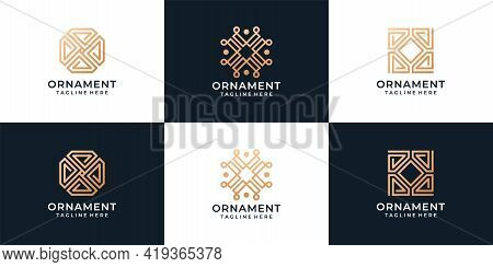 Golden Minimalist Ornament Logo Vector Design Collection. Logo Can Be Used For Icon, Brand, Identity