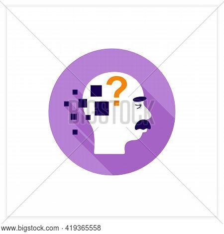Alzheimer Disease Flat Icon. Memory Loss.destroys Memory, Thinking Skills.repeating Questions, Losin