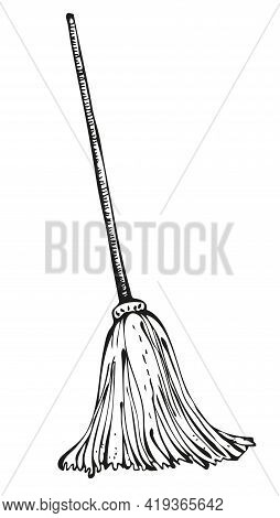 Vector Mop Illustration, Old-fashioned Mop With Wooden Stick, Isolated On White Background