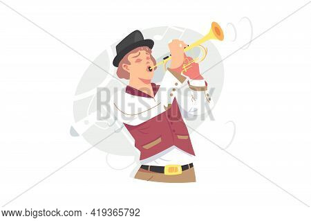 Musician Plays Jazz Music On Trumpet Vector Illustration. Orchestra Performer With Golden Trumpet In