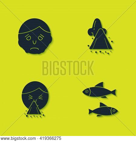 Set Inflammation On Face, Fish, Handkerchief To His Runny Nose And Runny Icon. Vector