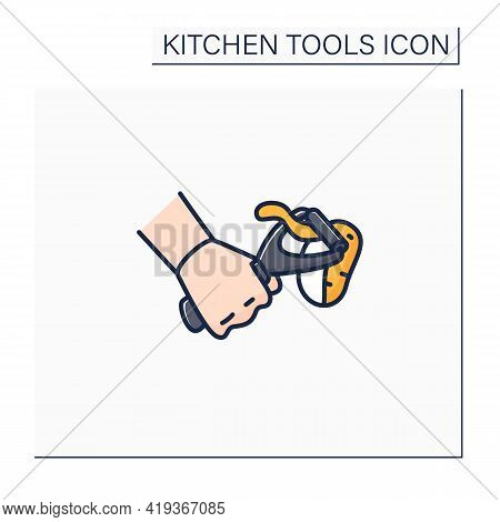 Peeler Color Icon. Vegetable Scraper. Remove Outer Layer. Kitchen Tools Concept. Isolated Vector Ill