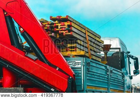 The Car Transports Old Wooden Plank Panels, Timber Cargo Transportation, Freight Industrial Transpor