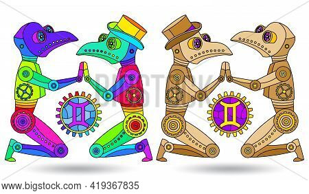 Illustration In The Style Of A Stained Glass Window With A Set Of Zodiac Signs Gemini, Figures Isola