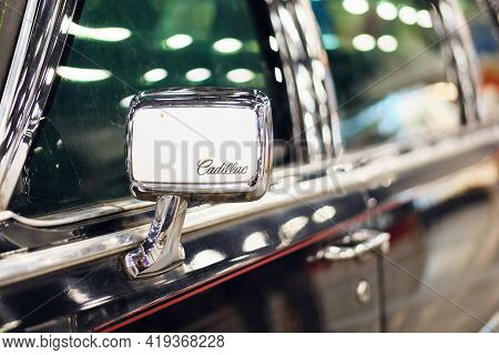 Russia, St.petersburg, 9 April 2021 Side Mirror Armored Limousine For Us Presidents.