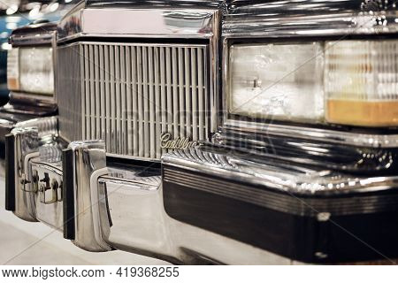 Russia, St.petersburg, 9 April 2021 Armored Limousine Cadillac Fleetwood Brougham For Us Presidents