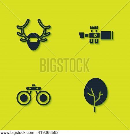Set Deer Antlers On Shield, Tree, Binoculars And Sniper Optical Sight Icon. Vector