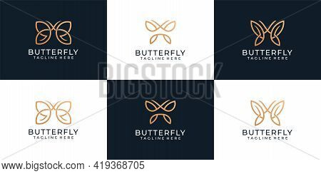 Set Of Luxury Butterfly Animal Logo Design Collection. Logo Can Be Used As Icon, Brand, Identity, Sy