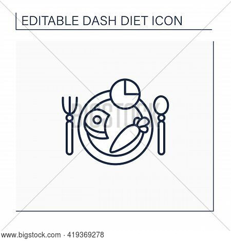 Meal Plan Line Icon. 2000 Calories Day Diet. Healthy Food.fruits, Vegetables, Protein, Whole Grains,