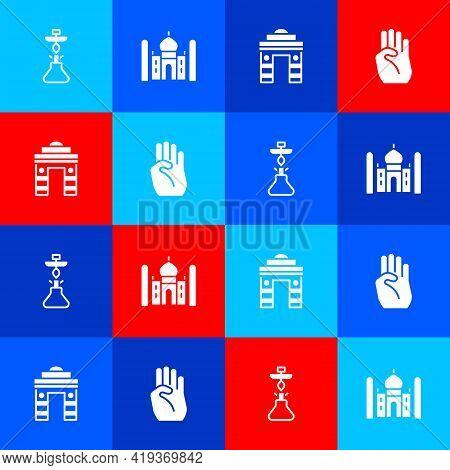 Set Hookah, Taj Mahal, India Gate In Delhi And Indian Symbol Hand Icon. Vector