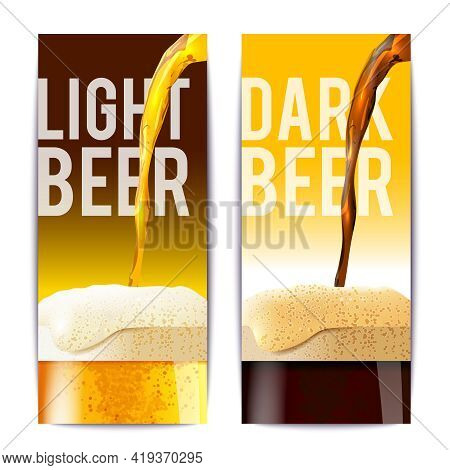 Beer Banner Vertical Set With Full Realistic Glasses Isolated Vector Illustration