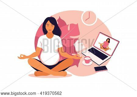 Pregnant Women Practicing Yoga And Meditation Online. Wellness And Healthy Lifestyle In Pregnancy. V