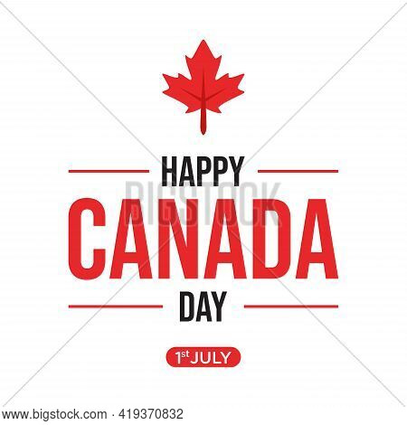 Happy Canada Day Emblem Design With Red Maple Leaf Vector Image. Vector Illustration Eps.8 Eps.10