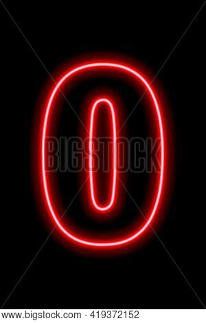 Neon Red Number 0 On Black Background. Learning Numbers, Serial Number, Price, Place. Vector Illustr