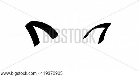 Cute Cat Ears Vector Illustration Doodle Drawing, Animal Ears. Outline Cat's Head Graphic Icon. Hand