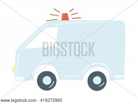 Lorry Van In Blue. Isolated Car With Siren. Emergency Car. Hand Drawn Cartoon Style, Vector Illustra