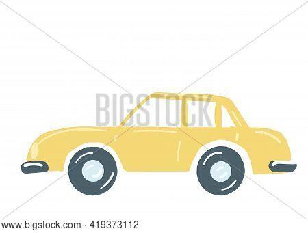 Yellow Sedan Car. Isolated Car With A Trunk. Hand Drawn Cartoon Style, Vector Illustration.