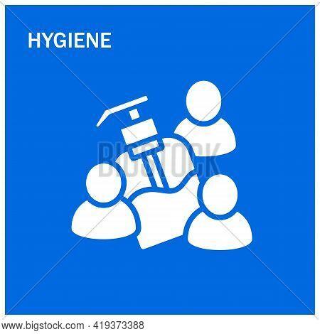 Hygiene Vector Illustration. Liquid Soap Or Antibacterial Solution Dispenser. Concept Of Hygiene, He