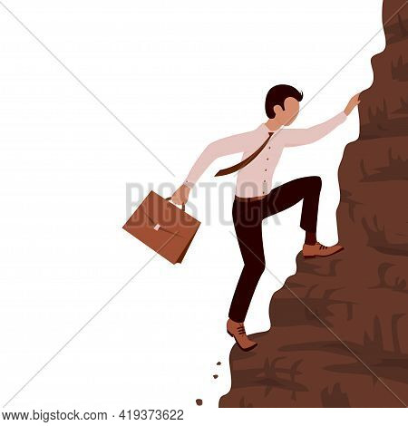 A Young Brave Business Man Climbs A Steep Mountain. Case In Hand. Career And Effort Concept. Cartoon