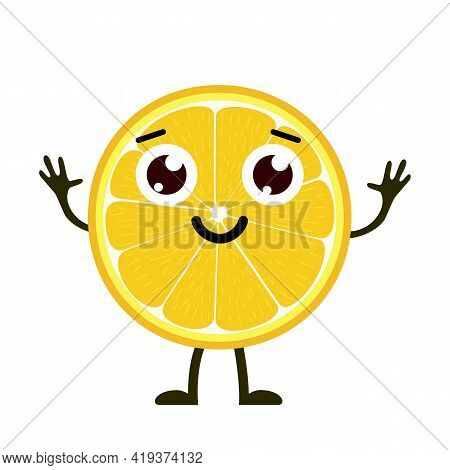 Lemon Character, Cute Character For Your Design. Beautiful Cartoon Lemon Isolated On White Backgroun