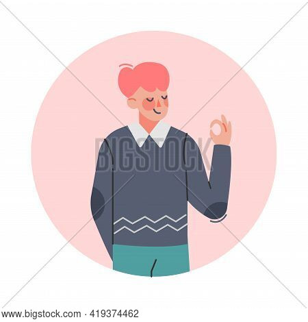 Teen Boy Making Okay Hand Gesture, Teenager Expressing Positive Emotions, Nonverbal Communication Co