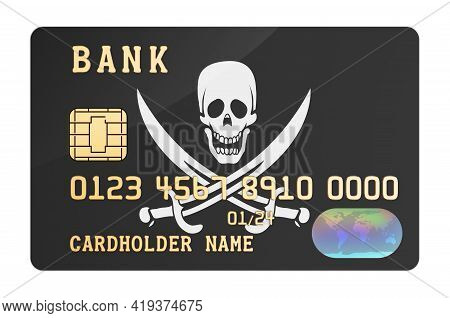 Plastic Bank Credit Card Featuring Piracy Flag, 3d Rendering Isolated On White Background