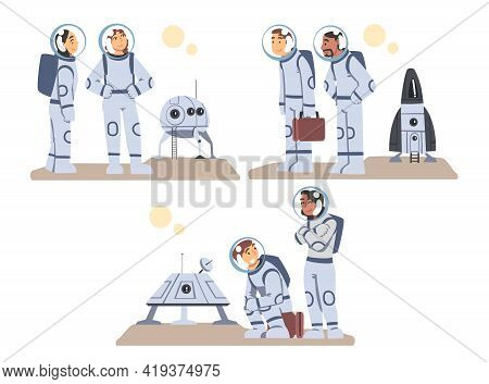 Space Tourists Traveling To Another Planet Set, Astronauts Wearing Spacesuits Landed On Mars Or Moon