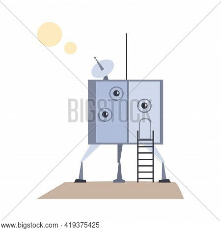 Module Of Spacecraft, Futuristic Human Settlement On Mars, Moon Or Another Planet Cartoon Vector Ill