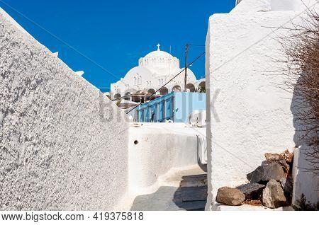 Orthodox Metropolitan Cathedral And Streets Of Thira, Santorini Island, Greece