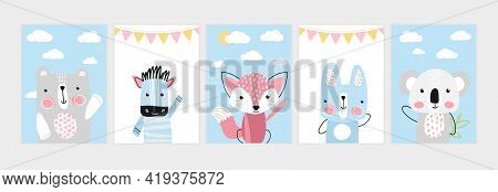Cute Posters With Little Bear, Zebra, Fox, Hare, Koala. Prints For Baby Room, Baby Shower, Greeting