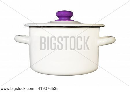 White Enamel Saucepan For Cooking Isolated On White Background . Kitchen Utensils Element .
