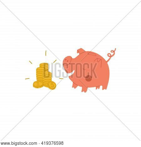 Pink Piggy Bank Eats Money. Piles Of Glittering Gold Coins Lie In Front Of The Piggy Bank. Joyful Pi