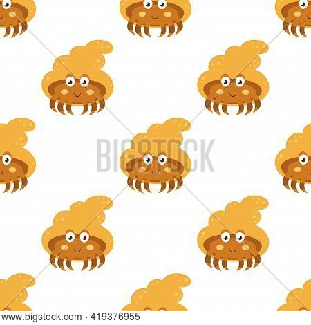 Cute Seamless Pattern With Hermit Crabs Isolated On White, Vector Illustration