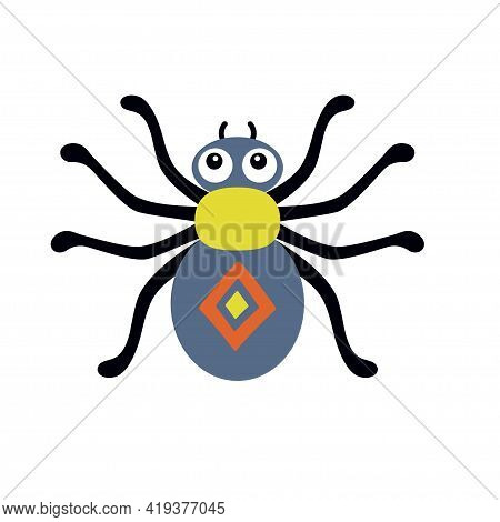 Cute And Funny Colored Spider, Vector Illustration Isolated On White Background, Cartoon Style, Hall