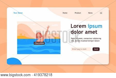 Happy Woman Enjoying Bathing In Sea. Topless, Censored Banner, Nude Person. Flat Vector Illustration