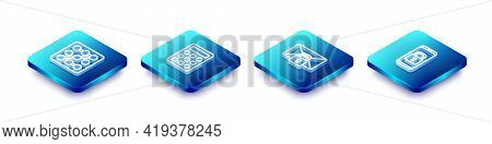 Set Isometric Line Graphic Password Protection, Password, Mail Message Lock And Mobile With Closed P