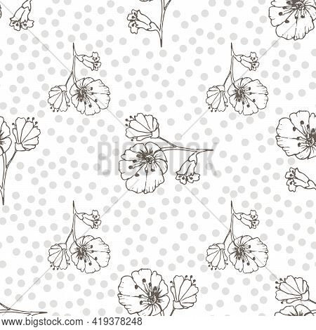 Childrens Pattern. Floral Background. Beige Background. Flowers Texture. Seamless Background With De