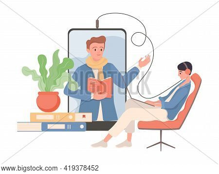 Woman Sitting In Comfortable Armchair With Headphones And Listening Podcast Or Audiobook Vector Flat