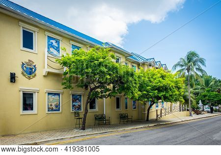 Grand Cayman, Cayman Islands, July 2020, View Of Guy Harvey Side Building A Store And Art Gallery In