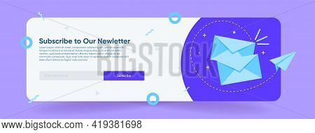 Email Subscription, An Online Mailing List Template With A Mailbox And A Send Button For A Block Of